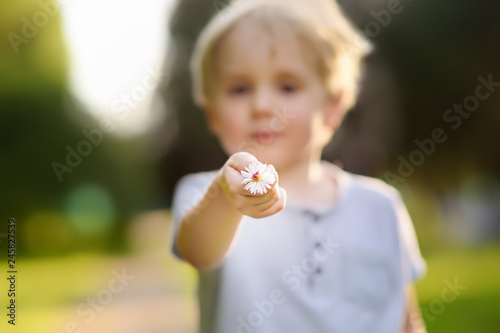 Fotografía  Little boy shows flower and asks a question what is