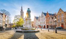 Jan Van Eyck Square At Sunset, Brugge, Flanders Region, Belgium