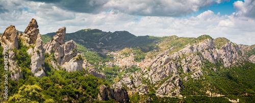 Foto op Canvas Europa Lucan Dolomites with Castelmezzano village in summer, Basilicata, Italy