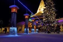 Santa Claus Village In Rovaniemi With Blue Line Marking Arctic Circle, Lapland Finland,