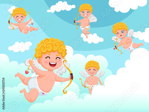 Poster Ciel Cupid angels characters flying with bow and arrow clouds background. Happy Valentine's Day. Vector illustration decorative element on Valentine