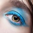 Closeup macro portrait of human female eye with blue smoky eyes make-up.