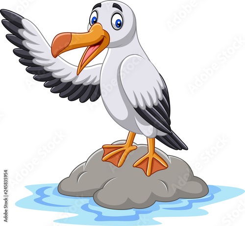 Fototapeta premium Kreskówka macha ładny albatros