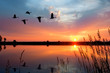 canvas print picture - Sunset Geese