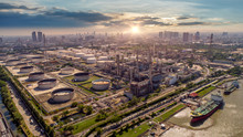 Aerial View Of Oil And Gas Industry - Refinery, Shot From Drone Of Oil Refinery And Petrochemical Plant  , Bangkok, Thailand