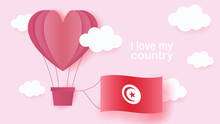 Hot Air Balloons In Shape Of Heart Flying In Clouds With National Flag Of Tunisia. Paper Art And Cut, Origami Style With Love To Tunisia