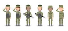 Set Of Soldiers. Men And Women...