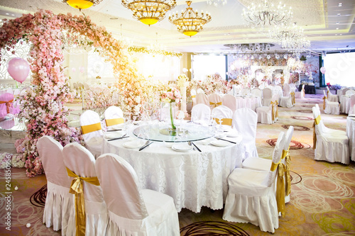 Cuadros en Lienzo Wedding scene dinner scene illustration