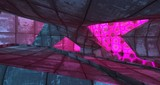 Abstract  Concrete Futuristic Sci-Fi interior With Pink And Blue Glowing Neon Tubes . 3D illustration and rendering.