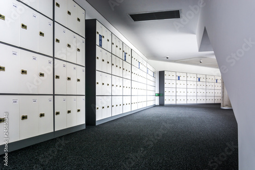 Fotografie, Obraz  A row of school lockers.