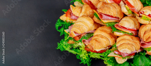 Fotografie, Obraz  Croissant sandwich with salami on a green wooden background.