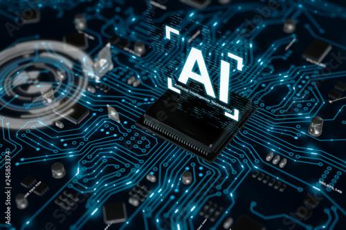 Fotografía 3D render AI artificial intelligence technology CPU central processor unit chips