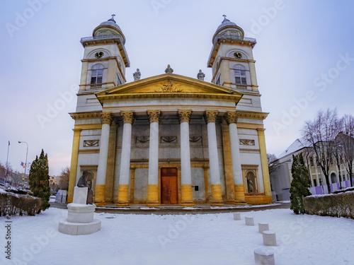 Religious architecture of Romano - Catholic Bishopric church in Satu Mare, city Wallpaper Mural