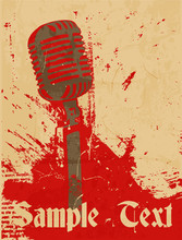 Grunge Concert Poster With Mic...