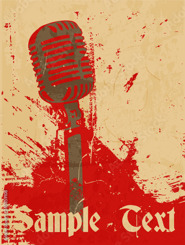 Fotografija  grunge concert poster with microphone