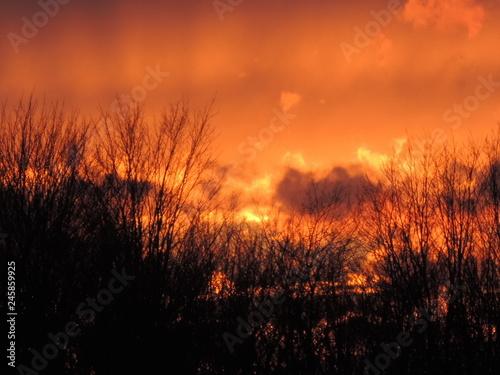 Cadres-photo bureau Brique coucher de soleil sur Granby Québec