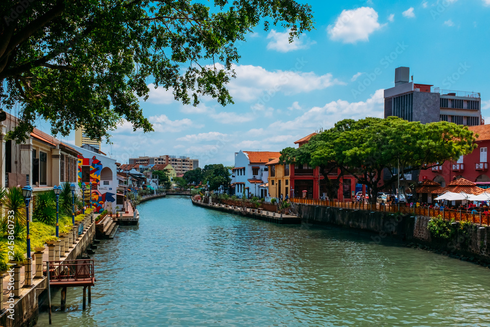 Fototapety, obrazy: The old town of Malacca and the Malacca river. UNESCO World Heritage Site in Malaysia