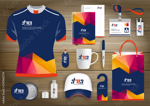 Fotografía  Gift Items business corporate identity, Vector abstract Color promotional souvenirs design with origami elements for diagonal lines