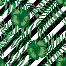 Hibiscus Green Palm Leaves Seamless Black White Background