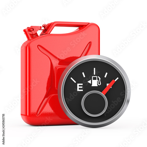 Valokuva Fuel Dashboard Gauge Showing a Full Tank in front of Red Metal Jerrycan