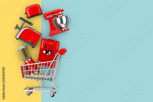 Photo Many Kitchen Appliance Falling in Shopping Cart. 3d Rendering