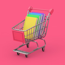 Buying Of Books Concept. Shopping Cart With Stack Of Books. 3d Rendering