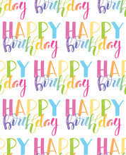 Happy Birthday Pattern Background Wallpaper Textile Fabric