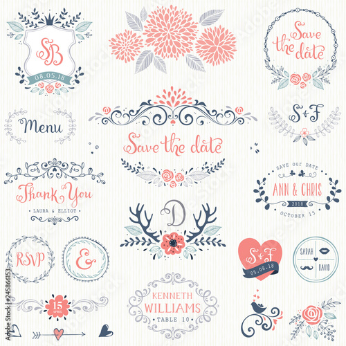 Photo  Hand drawn rustic wedding collection with typographic design elements