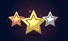Golden Bronze Silver Stars Icon Rating Isolated. Vector Illustration