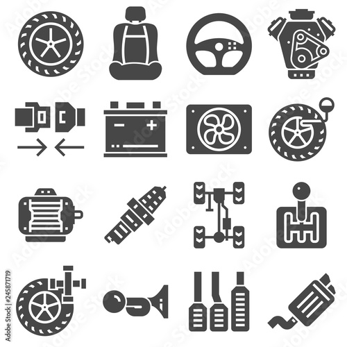Fototapety, obrazy: Car Parts Icons Set on White Background. Vector