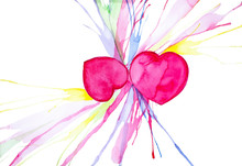 Abstract Two Hearts Watercolor...