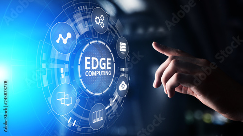 Edge computing modern IT technology on virtual screen concept Tableau sur Toile