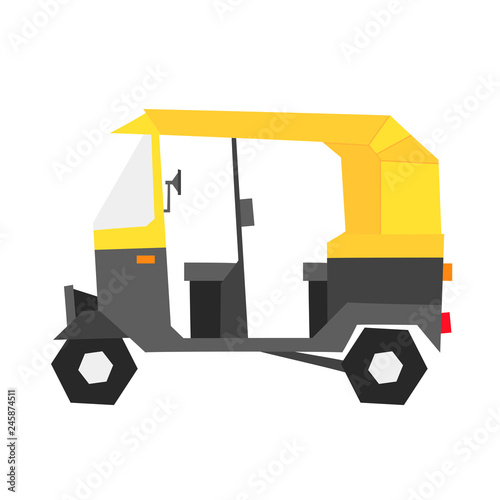 Fotografia, Obraz  Indian auto rickshaw illustration in geometric style