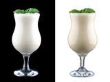 Fototapeta Kawa - Milk shake on dark and white background