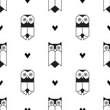Vector seamless pattern with owls in geometric flat style. - 245874775