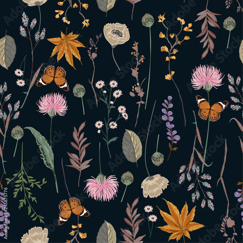 Leinwand Poster Beautiful seamless pattern vector blooming botanical in many kind of plants desi