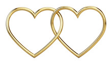 Golden Metallic Heart Frames On White Background - 3d Rendering