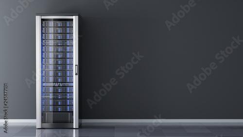 Fotografía  One Server rack against the wall in server room data center