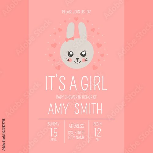 Fototapeta Cute Baby Shower Girl Invite Card Vector Template Valentine Day Poster Cartoon Animal Illustration Little Princess Background Design