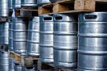 Many Metal Beer Kegs