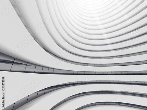 Abstrakt biała okrąg przestrzeń, perspektywa przyszłościowy architektura budynek. Futurystyczny pomysłu projekt, 3D rendering.