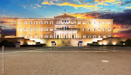 Fotografia  Building of Greek parliament in Syntagma square, Athens, Greece