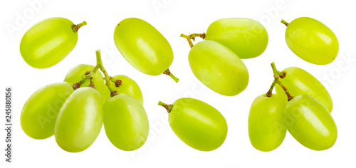 Valokuvatapetti Green grape isolated on white background