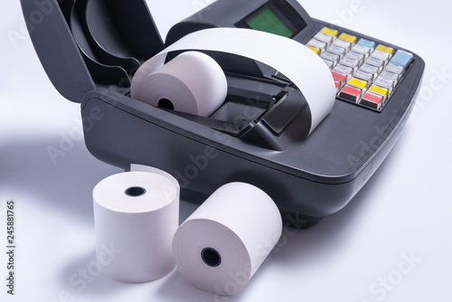 Fototapeta Changing paper roll in electronic cash register machine obraz