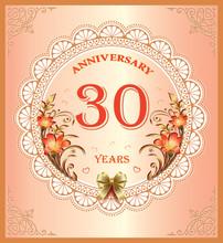 Anniversary 30 Years , Happy Birthday, Greeting Card, Background