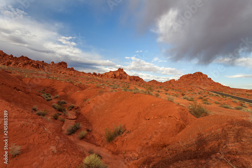 Tuinposter Rood traf. Valley of Fire State Park at sunset, Nevada, United States