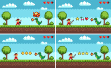 Duel Between Man And Dragon, Standing On Grass Near Trees And Bushes With Stars And Cherry With Hearts. Set Of Screens Of Different Level Pixel Game Vector