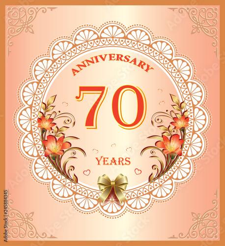 Anniversary 70 Years Happy Birthday Greeting Card Background