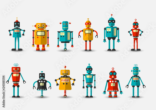 Photo Retro vintage funny vector robot set icon in flat style isolated on grey background