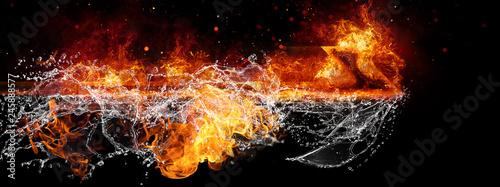 Pinturas sobre lienzo  火と水が結合した矢印